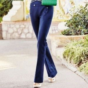 Cabi Navy Blue Mariner Flare Leg Trousers Size 8